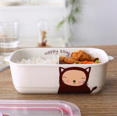 韓版陶瓷3格便當保鮮盒 (3.4折)
