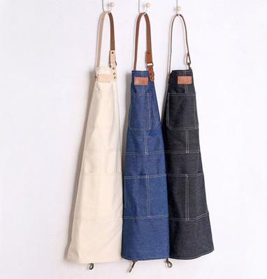廚房用品 工業風皮帶金屬鎖扣牛仔全身圍裙/居家工作服/烘焙圍裙 3色 (5折)
