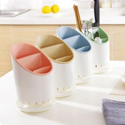 廚房用品 廚房餐具分層收納筷子湯匙瀝水筒/筷子盒/湯匙盒 4色 (3.1折)