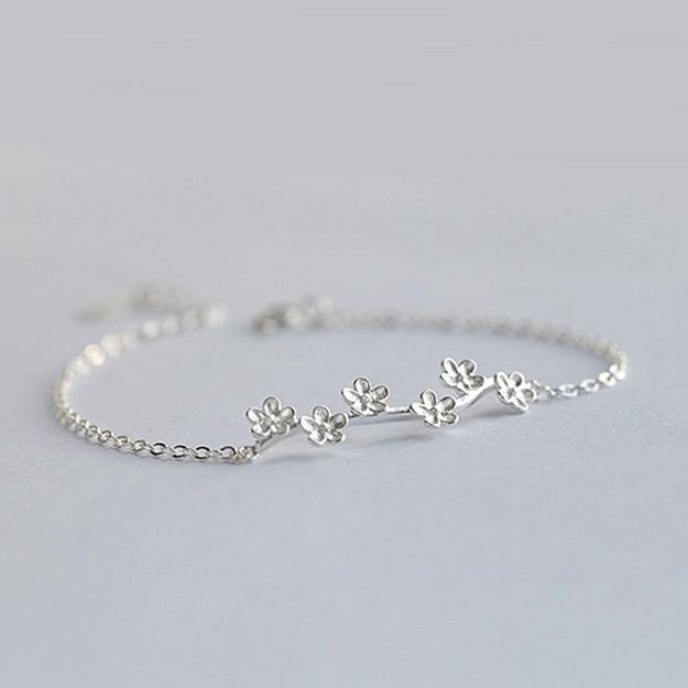 925純銀 梅花樹枝 裸銀素銀 霧面拉絲 極細手鍊-銀 防抗過敏 不退色