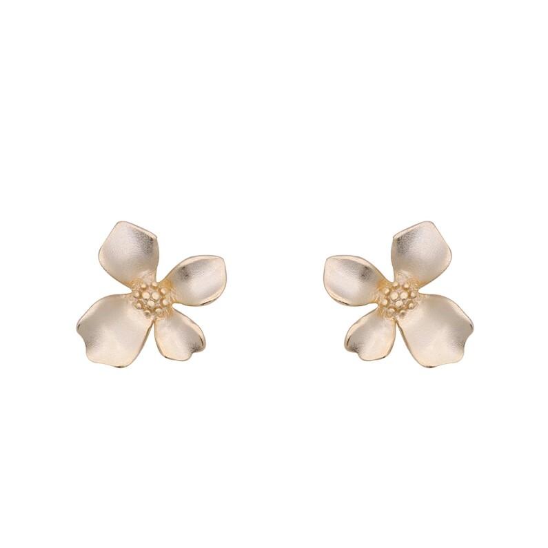 925純銀 梔子花花朵小花 啞光霧面 耳環耳針釘-金 防抗過敏