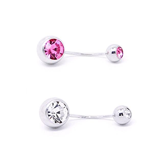 316l醫療鋼 銀底單鑽 細針肚臍環耳環-白粉 防抗過敏 單支販售