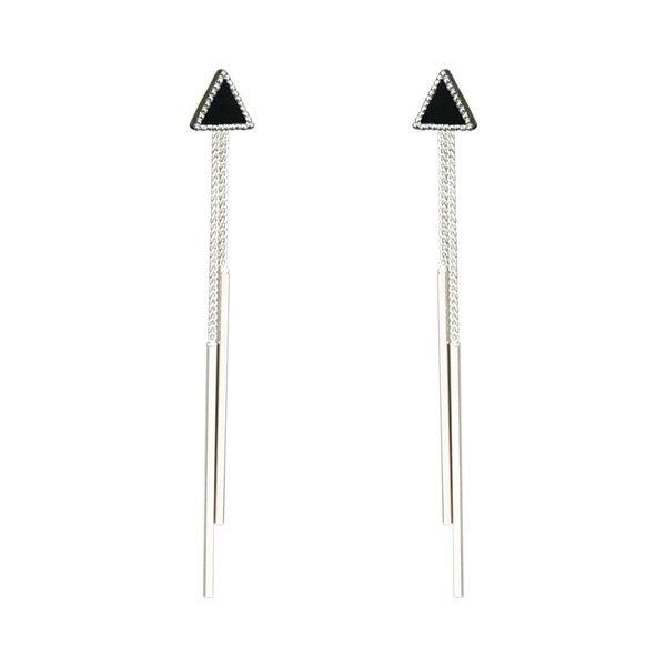 925純銀 黑色三角形 後勾式長款流蘇 耳環耳針釘-銀 防抗過敏