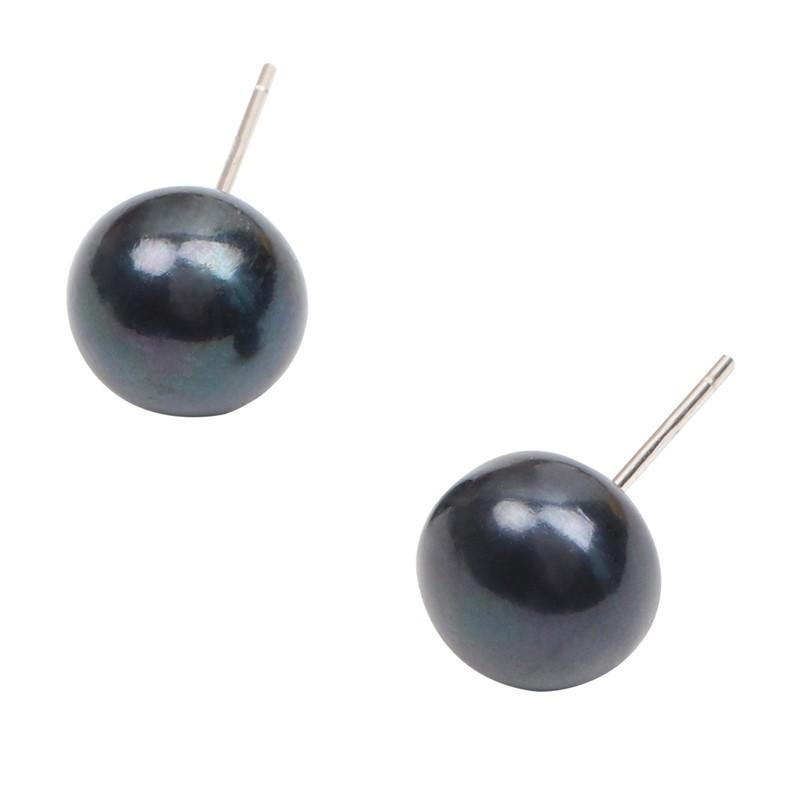 925純銀 5mm中扁黑色 天然淡水珍珠 耳環耳針釘-銀 防抗過敏