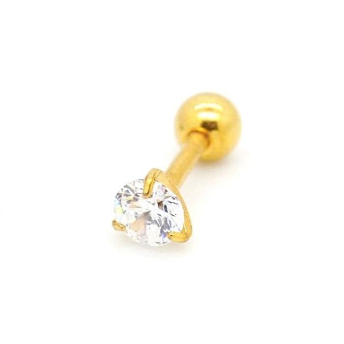 316l醫療鋼 金底單鑽天然白水晶 旋轉式耳環-2mm3mm 防抗過敏 單支販售