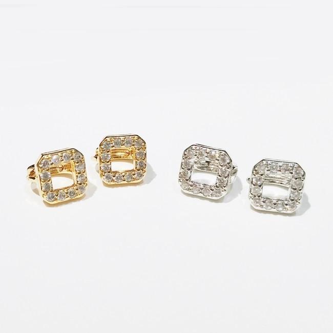 防抗過敏 空心正方形 天然白水晶 耳環耳圈扣-金銀