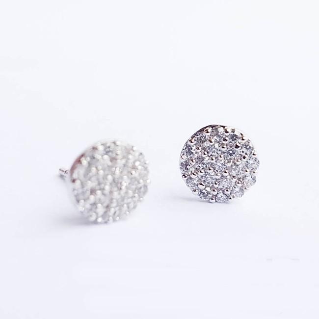 防抗過敏 圓形圓餅 滿鑽天然白水晶 耳環耳針釘-銀
