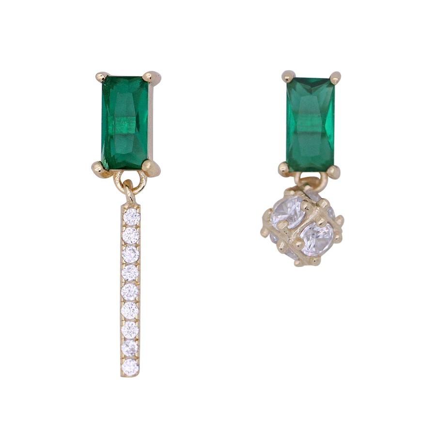 925純銀 不對稱綠鋯石一字圓球 垂墜耳環耳針釘-金 防抗過敏