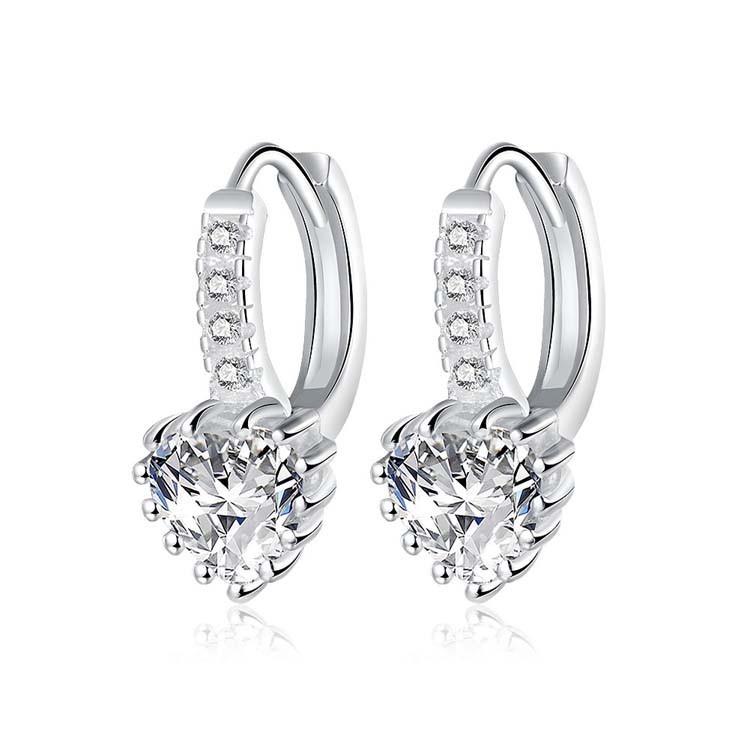 防抗過敏 華麗款愛心心型天然白水晶 耳環耳圈扣-銀