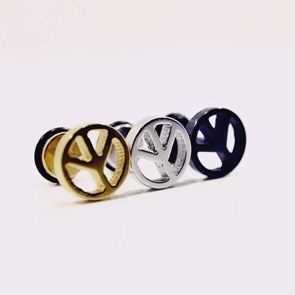 316l醫療鋼 大反戰和平符號 旋轉式耳環-金銀黑 防抗過敏 單支販售