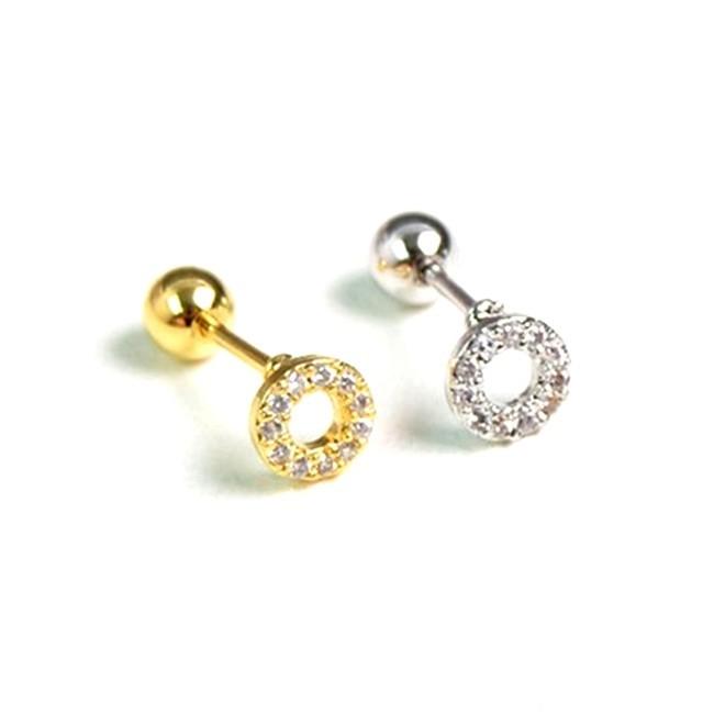 316l醫療鋼 小圓形圓圈 天然白水晶 旋轉式耳環-金銀 防抗過敏 單支販售