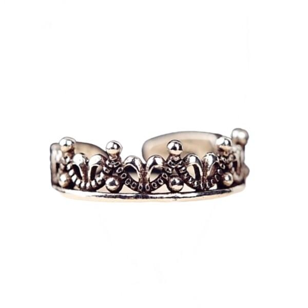 925純銀 個性復古 皇冠 c型可調整戒指尾戒指節戒 防抗過敏 不退色
