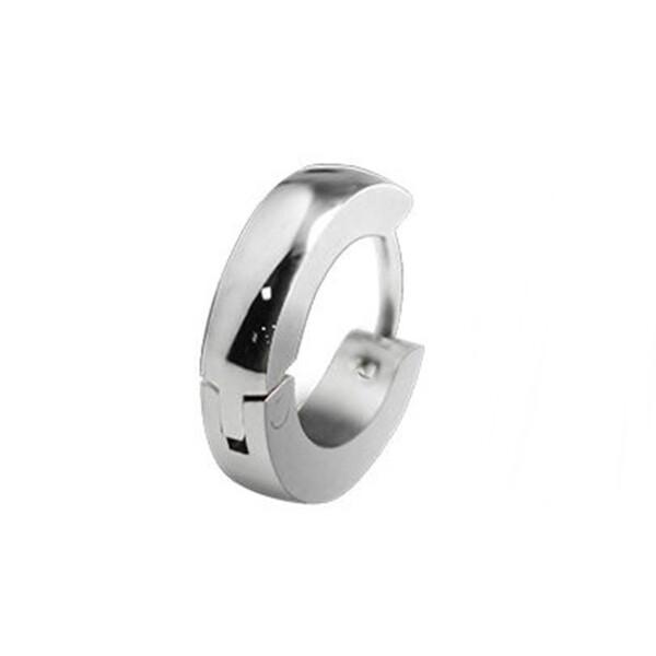316l醫療鋼 弧形素鋼 耳環耳圈扣-銀 防抗過敏 單支販售