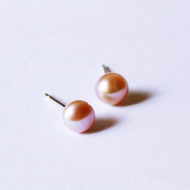 925純銀 5mm中扁粉紫色 天然淡水珍珠 耳環耳針釘-銀 防抗過敏