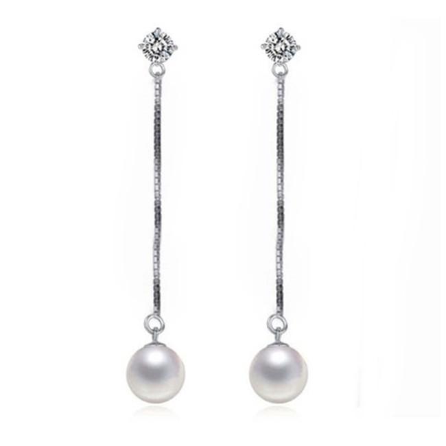 925純銀 天然白水晶乳白珍珠 後勾長款流蘇 耳環耳針-銀 防抗過敏