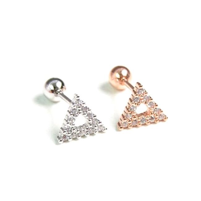 316l醫療鋼 三角形 天然白水晶 旋轉式耳環-銀玫瑰金 防抗過敏 單支販售