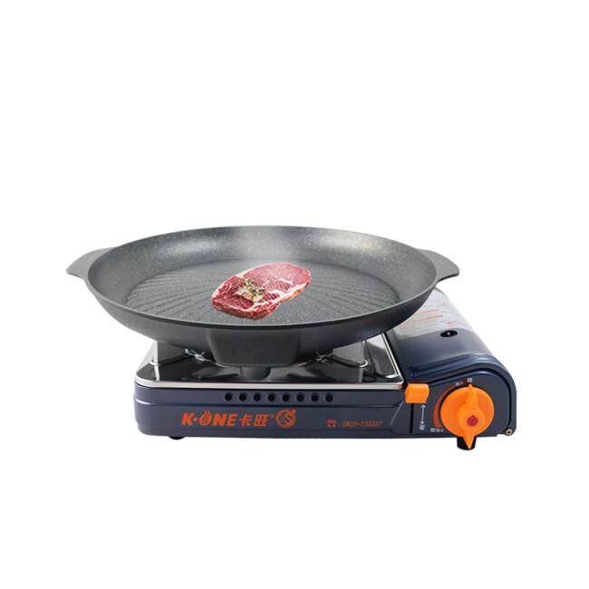 卡旺k1-a002sd雙安全卡式爐+韓國火烤兩用圓弧烤盤