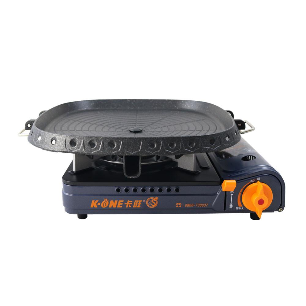 卡旺k1-a005d雙安全卡式爐+韓國最新火烤兩用烤盤nu-g