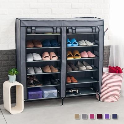 (六色)雙排12格DIY組合鞋櫃 (3.3折)