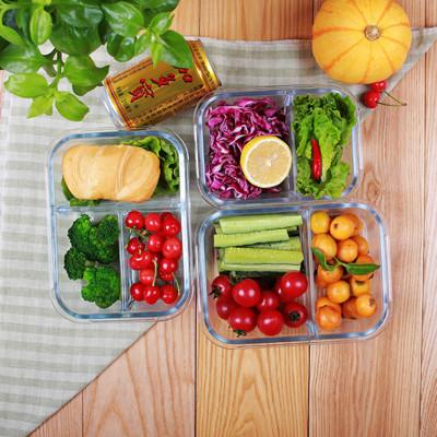 1010ml (3隔)食品級耐熱玻璃保鮮飯盒 玻璃保鮮盒 便當盒 午餐盒 飯盒 (6.2折)