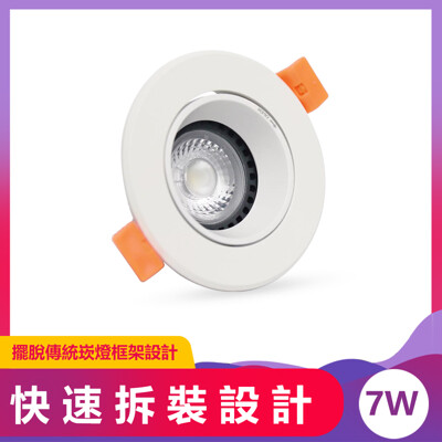 LED崁燈 7.5cm 7W 沙白AD Brian崁燈 (5.5折)