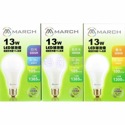 【好商量】MARCH LED 13W 燈泡 6500K/4000K/3000K E27 球泡 (5折)