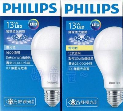 【好商量】PHILIPS 飛利浦 LED 13W 燈泡 全電壓 無藍光 E27 (6.6折)