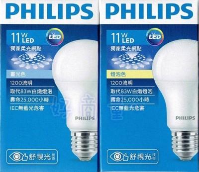 【好商量】PHILIPS 飛利浦 LED 11W 燈泡 舒視光 LED球泡燈 E27 白光/黃光 (5.6折)