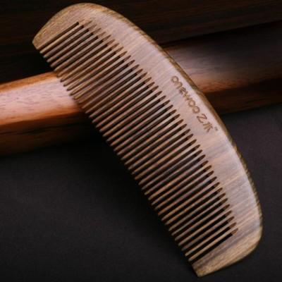 綠檀木梳子順發捲發木頭梳子防靜電防脫發檀香牛角梳 免運 (6.3折)