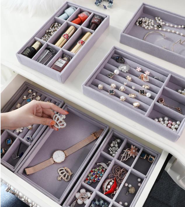 絨布首飾盒託盤戒指耳釘環項鍊手飾品整理收納盒抽屜珠寶展示分隔