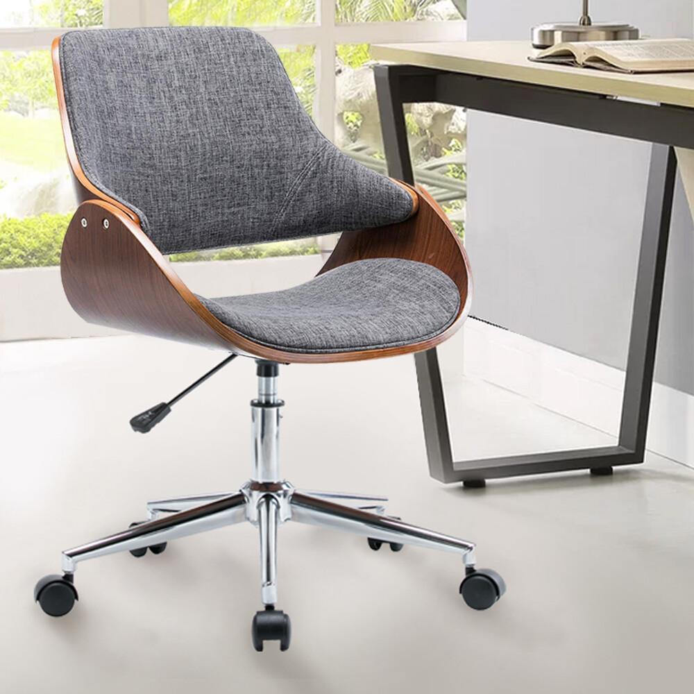 e-home gina吉娜布面曲木電腦椅 灰色