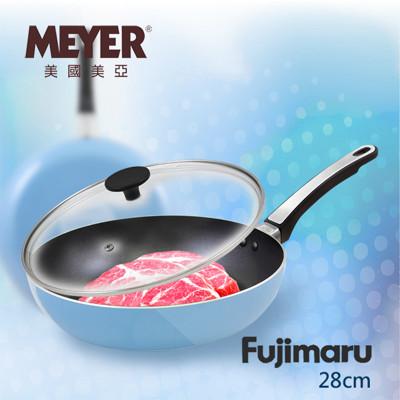 【MEYER】美國美亞Fujimaru藍珊瑚單柄不沾平煎鍋28CM+玻璃蓋 / 16445 (5折)