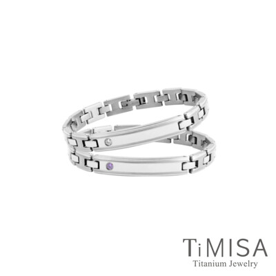 timisa 純鈦飾品純粹品味晶鑽版-細版 純鈦鍺手鍊(兩色可選) (8.8折)