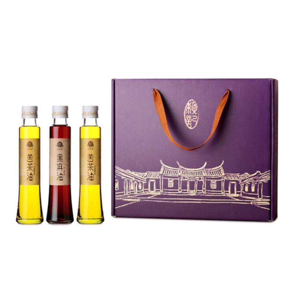 賴記苦茶油頂級禮盒 100%純天然(苦茶油200ml*2+黑麻油200ml*1) / 盒