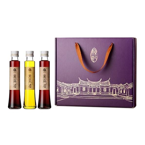 賴記苦茶油頂級禮盒 100%純天然 (苦茶油200ml*1+黑麻油200ml*2) / 盒