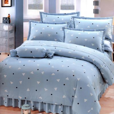 清新日和[3.5x6.2呎]五件式單人(100%純棉)鋪棉床罩組-灰藍色【艾莉絲-貝倫】 (5.1折)