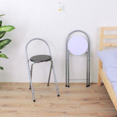 【愛家】鋼管高背(木製椅座)折疊椅/吧台椅/高腳椅/摺疊椅/折合椅(二色可選) (5.6折)