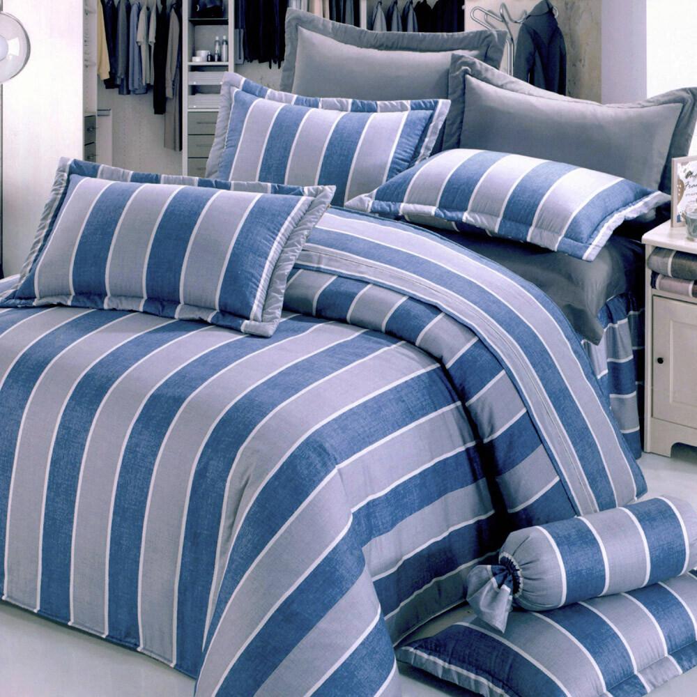 紺青之夜[6x6.2呎]六件式雙人加大(100%純棉)鋪棉床罩組-藍色艾莉絲-貝倫