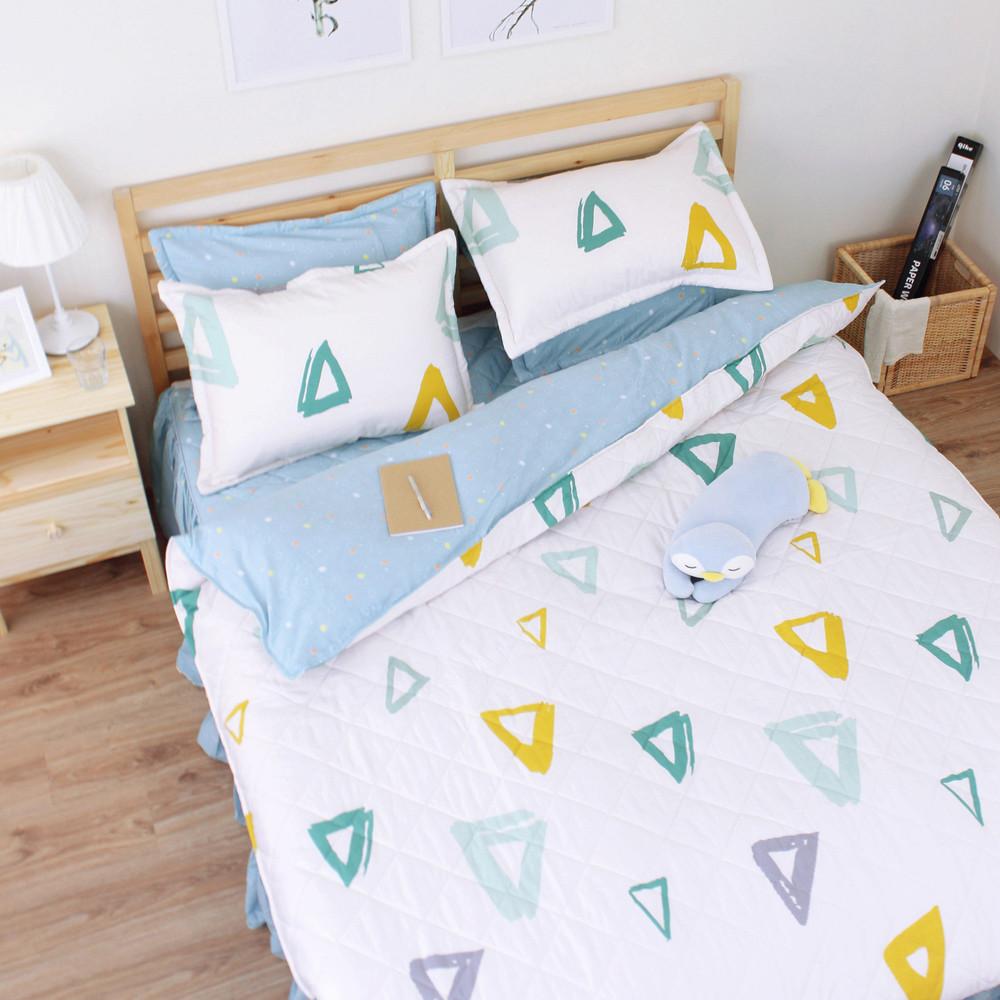 重溫時光[6x6.2呎]四件式雙人加大(100%純棉)ab版雙面鋪棉床罩組-白色艾莉絲-貝倫