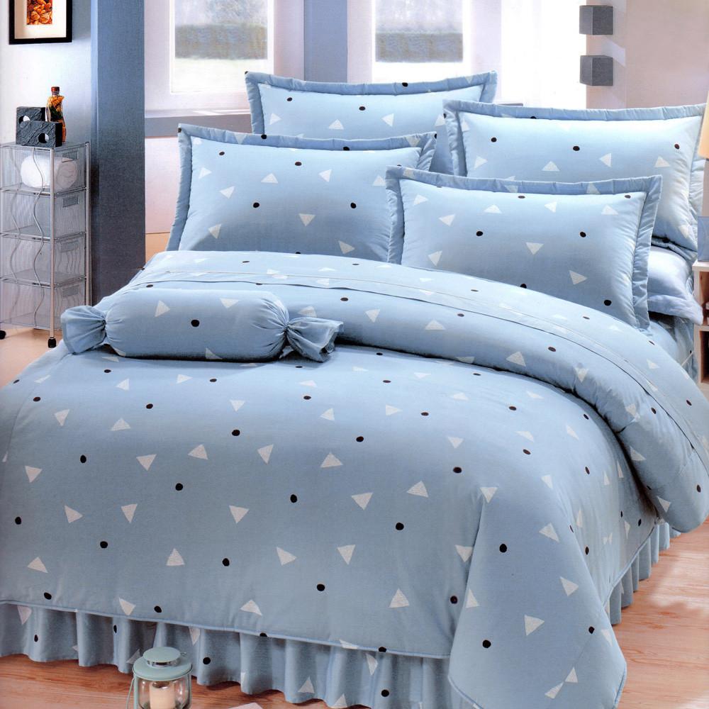 清新日和[6x6.2呎]六件式雙人加大(100%純棉)鋪棉床罩組-灰藍色艾莉絲-貝倫
