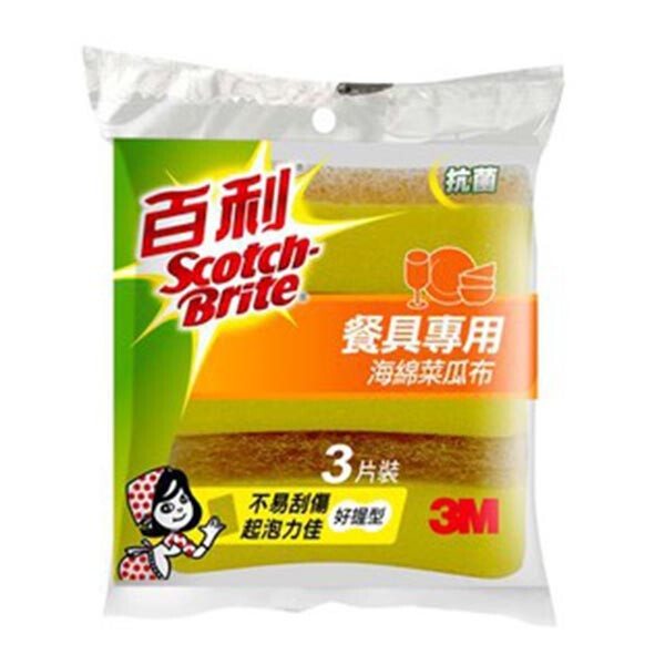 3m 百利 餐具專用海綿菜瓜布 小黃海綿菜瓜布  41yub-3m-3片裝
