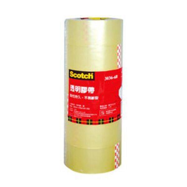 3m scotch 3036-6b 透明包裝膠帶-6入(筒裝) 48mm*90yd