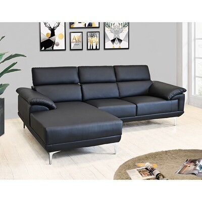 !新生活家具!《慕尼黑》灰色 黑色 L型沙發 頭部可調整 摩登沙發 復刻版沙發 造型沙發 簡約時尚 (4.7折)