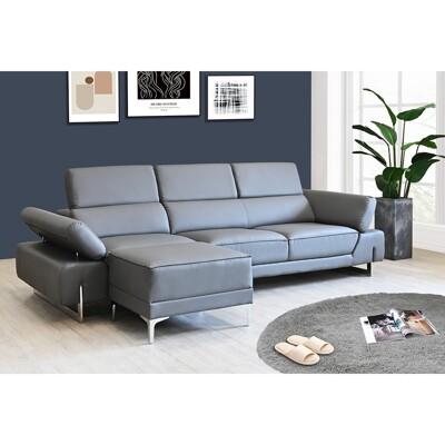 !新生活家具!  《威爾森》L型皮沙發 灰色 L型沙發 頭部可調整 摩登沙發 復刻版沙發 造型沙發 (8.3折)