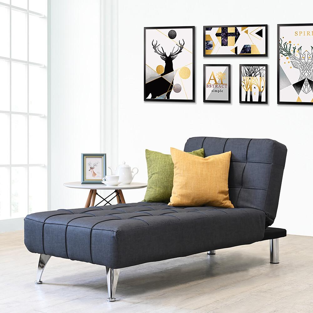 !新生活家具!瑪丹娜貴妃椅 貓抓皮 沙發床 可掃地機器人 鐵灰色 北歐風 亞麻布 布沙發 鐵腳