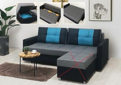 !新生活家具! 《克洛伊》灰色 布沙發 沙發床 L型沙發 三人位沙發 腳椅 收納 多功能 (4.8折)