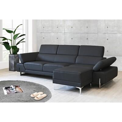 !新生活家具!  《威爾森》L型皮沙發 黑色 L型沙發 頭部可調整 摩登沙發 復刻版沙發 造型沙發 (8.3折)