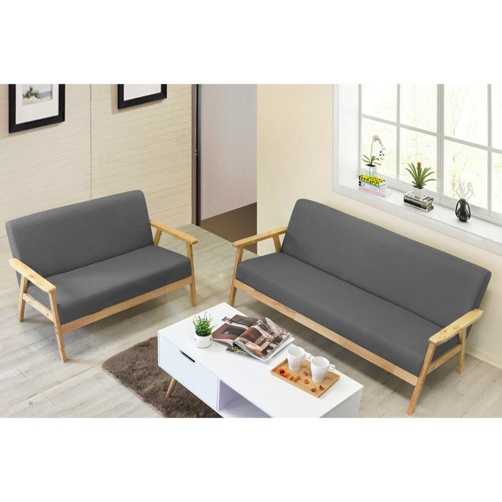 !新生活家具! 彗星灰色 亞麻布 2+3人位沙發 雙人沙發 三人沙發 木製沙發 布沙發 亞麻布