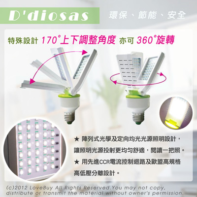 D'diosas LED3D平板LED燈泡(3W) (6.5折)