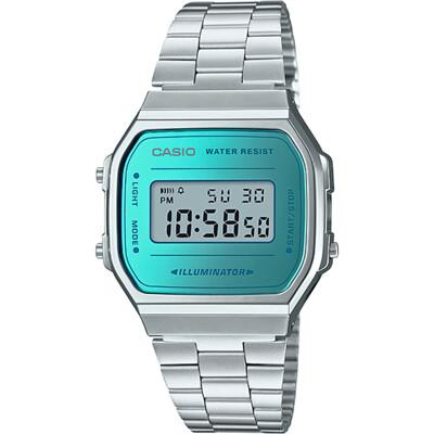 CASIO 經典復刻造型不鏽鋼電子錶-銀X藍綠(A168WEM-2D) (9.4折)